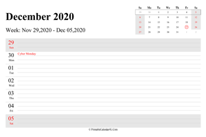 december 2020 weekly calendar with us holidays landscape layout