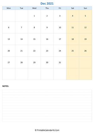 december 2021 calendar editable with notes vertical layout