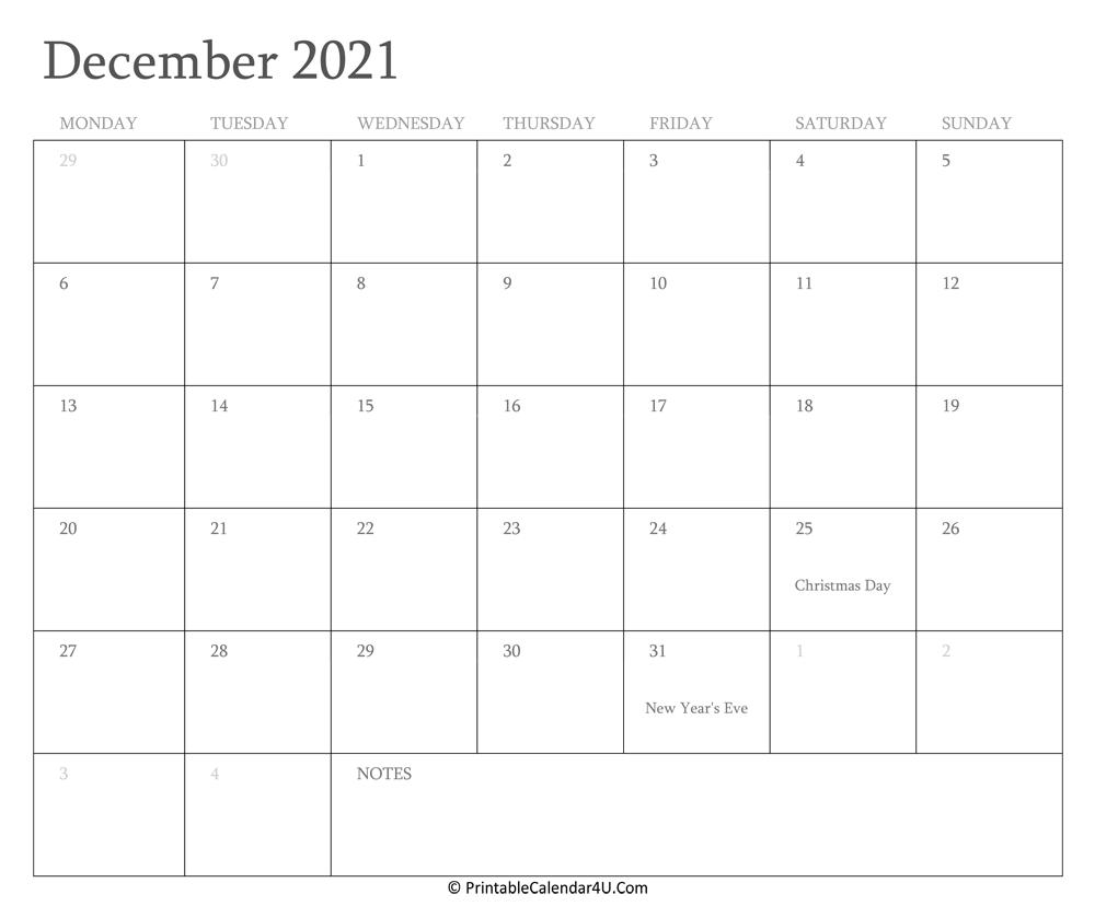 December 2021 Calendar Printable with Holidays
