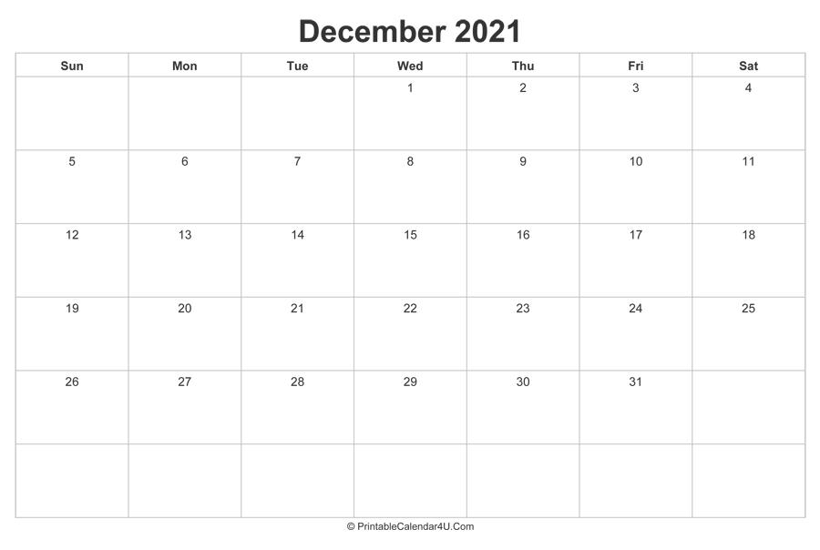 December 2021 Calendar Printable (Landscape Layout)