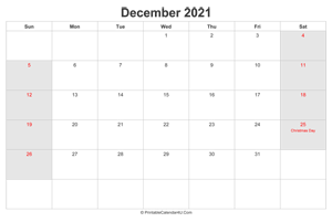 december 2021 calendar with us holidays highlighted landscape layout