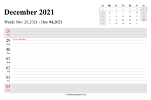 december 2021 weekly calendar with us holidays landscape layout