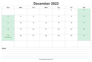 december 2022 calendar with us holidays and notes landscape layout