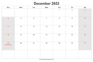 december 2022 calendar with us holidays highlighted landscape layout