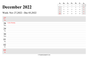 december 2022 weekly calendar with us holidays landscape layout