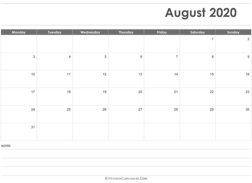 August 2020 Calendar Templates