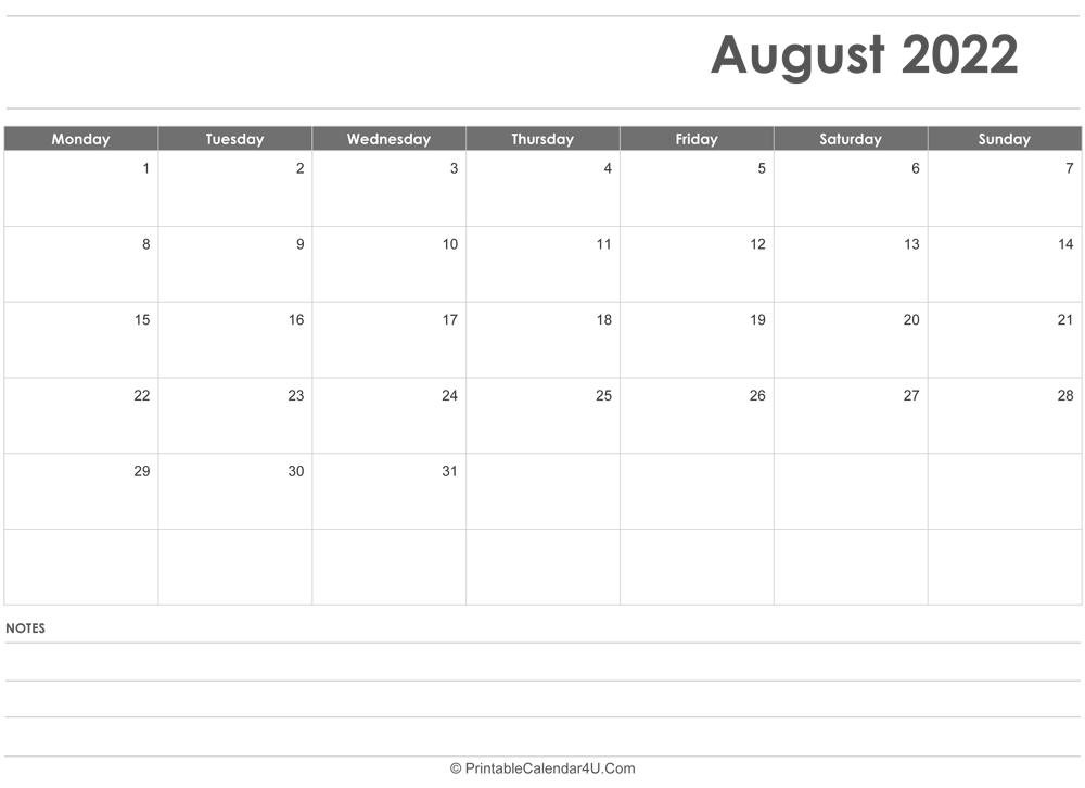 Aug 2022 Calendar.August 2022 Calendar Templates