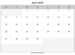 April 2020 Calendar Printable with Holidays