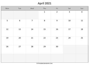 Editable April 2021 Calendar April 2021 Calendar Templates