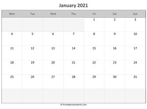 January 2021 Editable Calendar January 2021 Calendar Templates