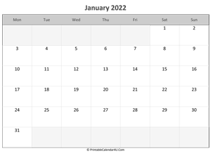 picture about 2022 Calendar Printable known as January 2022 Calendar Printable with Vacations