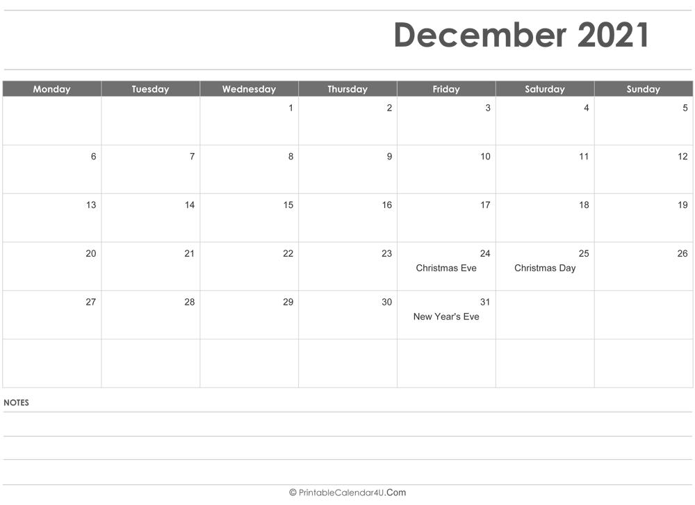Christmas 2021 Editable Calendar Editable December 2021 Calendar