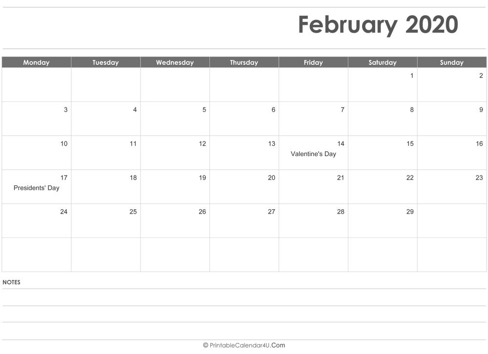 Presidents Day 2020 Calendar.February 2020 Calendar Templates