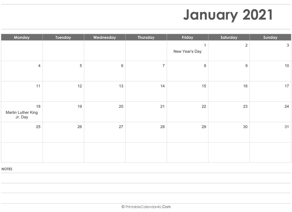 January 2021 Editable Calendar Editable January 2021 Calendar