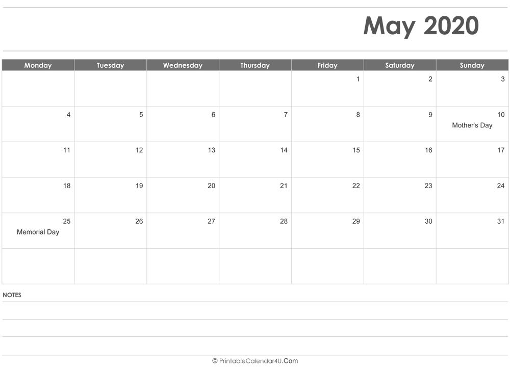 Monday To Sunday Calendar Template from printablecalendar4u.com