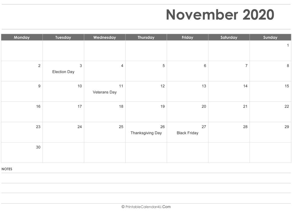 November 2020 Calendar Printable.November 2020 Calendar Templates