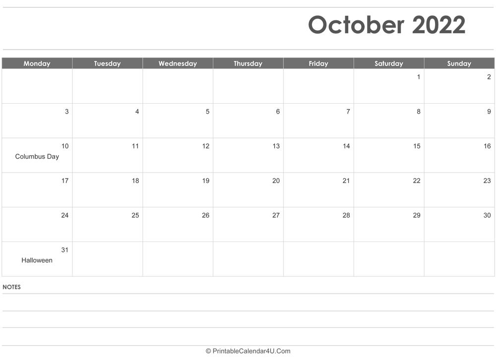 October 2022 Calendar Templates