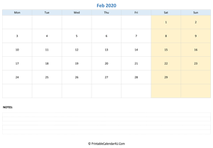 february 2020 calendar editable with notes horizontal layout