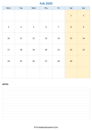 february 2020 calendar editable with notes vertical layout