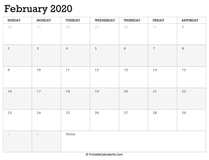 february 2020 calendar printable week starts on sunday