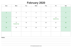 february 2020 calendar with us holidays and notes landscape layout