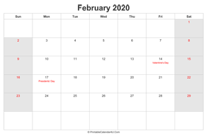 february 2020 calendar with us holidays highlighted landscape layout