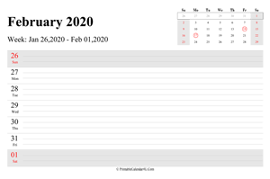 february 2020 weekly calendar with us holidays landscape layout