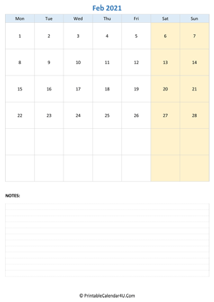 february 2021 calendar editable with notes vertical layout