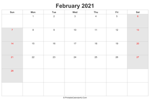 february 2021 calendar with uk bank holidays highlighted landscape layout
