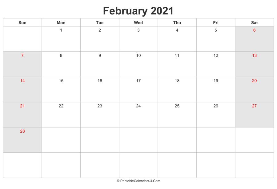 February 2021 Calendar with UK Bank Holidays highlighted ...