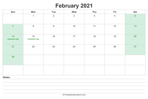 february 2021 calendar with us holidays and notes landscape layout