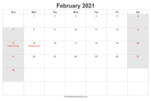 february 2021 calendar with us holidays highlighted landscape layout