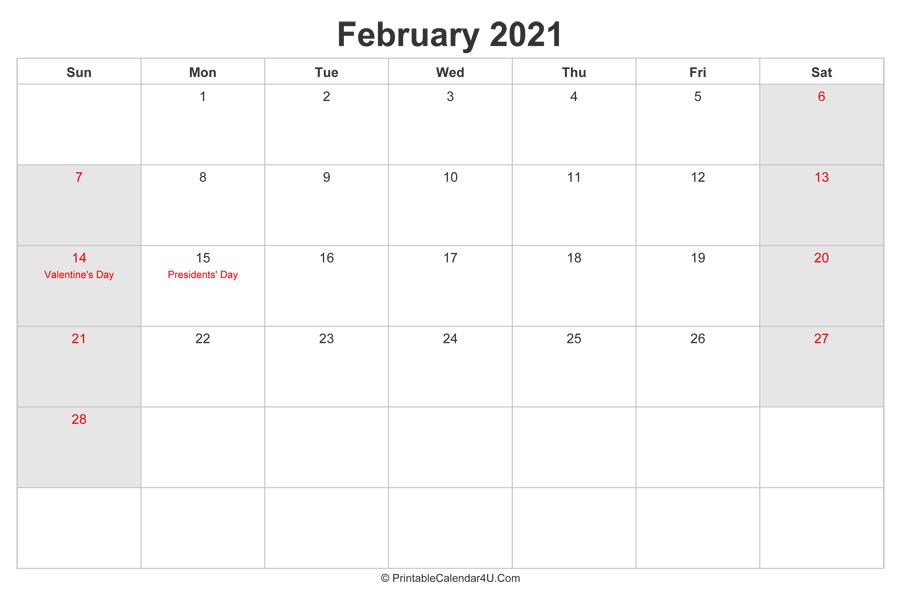 February 2021 Calendar with US Holidays highlighted ...
