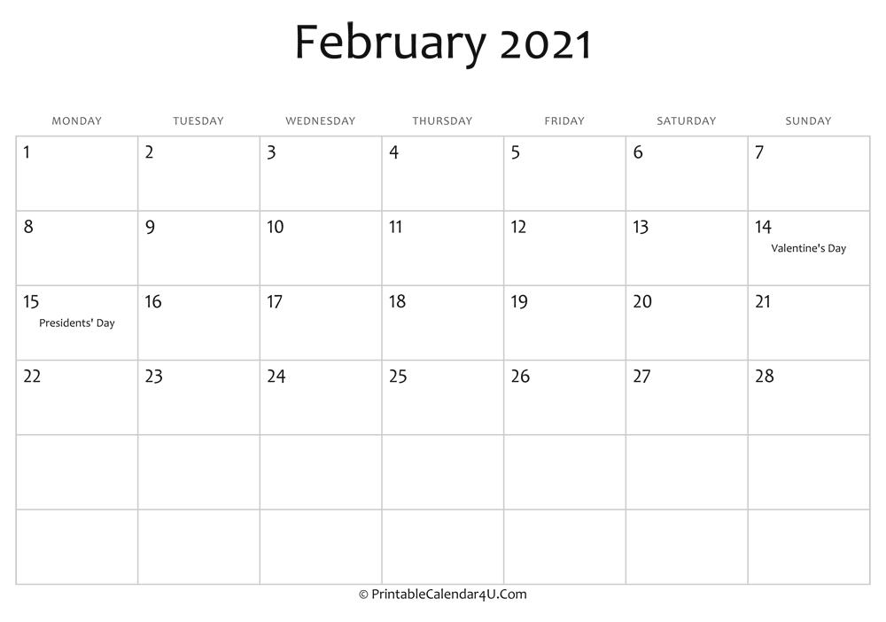 February 2021 Editable Calendar with Holidays