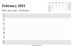 february 2021 weekly calendar with us holidays landscape layout