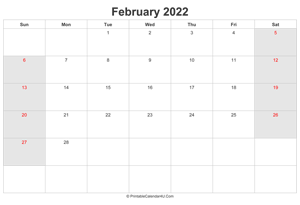 february 2022 calendar with uk bank holidays highlighted landscape layout