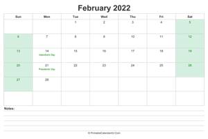 february 2022 calendar with us holidays and notes landscape layout