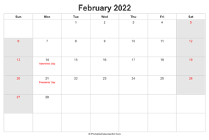 february 2022 calendar with us holidays highlighted landscape layout