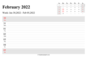 february 2022 weekly calendar with us holidays landscape layout