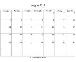 fillable 2019 calendar august