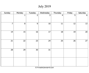 fillable 2019 calendar july