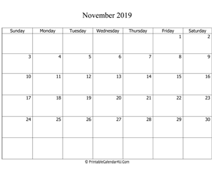 fillable 2019 calendar november