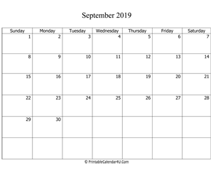 fillable 2019 calendar september