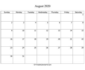Blank Calendar August 2020.August 2020 Calendar Templates