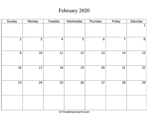 fillable 2020 calendar february