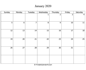 fillable 2020 calendar january