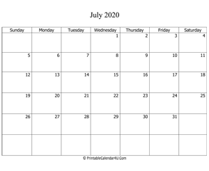fillable 2020 calendar july