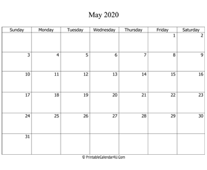 fillable 2020 calendar may