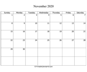 fillable 2020 calendar november