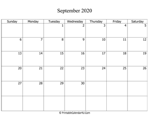 fillable 2020 calendar september